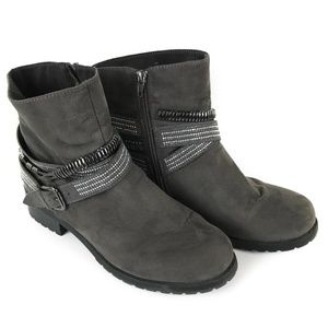 Lane Bryant Slouchy Grey Studded Ankle Boots 10W